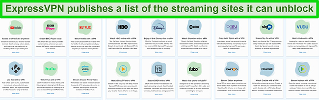 Screenshot of most popular streaming platform list that ExpressVPN unblocks