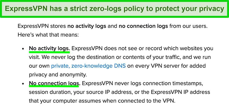 Screenshot of ExpressVPN's strict zero-logs policy