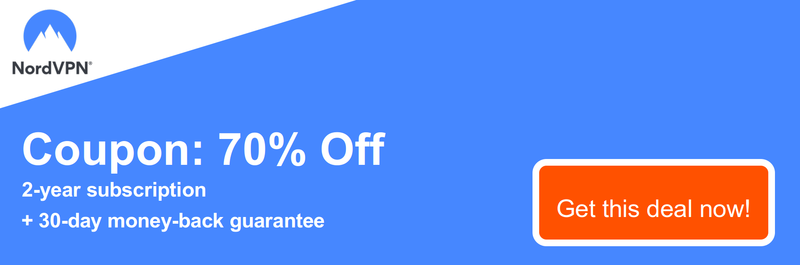 Graphic of a working NordVPN coupon offering a 70% discount for a 2-year subscription and a 30 day money-back guarantee