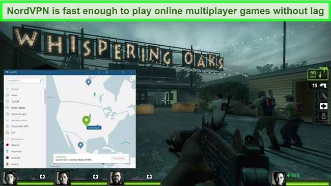 Screenshot of NordVPN connected to a US server while the game Left 4 Dead 2 is playing.