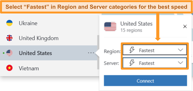 Screenshot of NordVPN's server options for the US showing the fastest region and server.