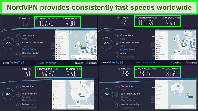 Screenshots of speed tests with NordVPN connected to different global servers.