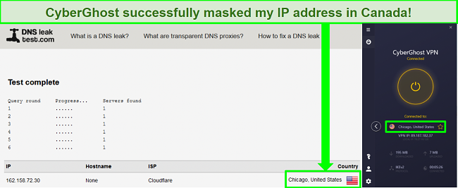 Screenshot of a DNS leak test while CyberGhost is connected to a Los Angeles server