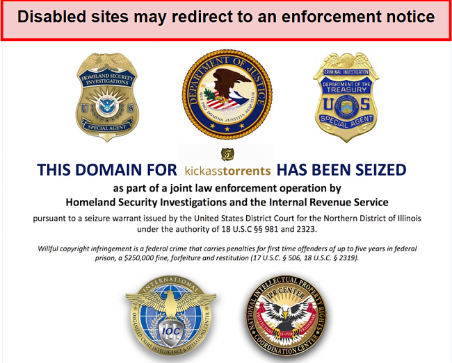 Screenshot of kickass torrents domain getting seized by the US authorities