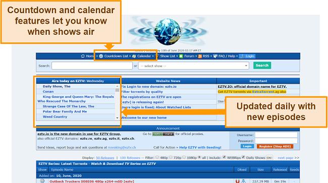 Screenshot of EZTV torrent site homepage