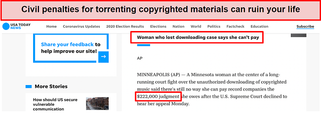 Screenshot of USA Today article about woman with a $222,000 civil liability for torrenting songs