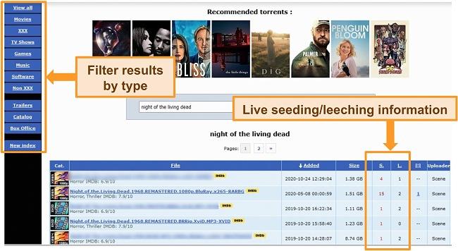 Screenshot of torrent search results on RARBG