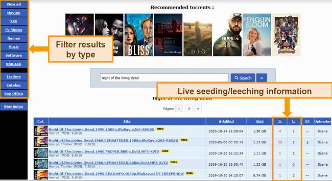 Screenshot of torrent search results on RARBG