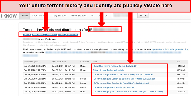 Screenshot of a public database showing a person's torrent history