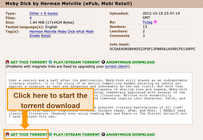 Screenshot of torrent download page on The Pirate Bay