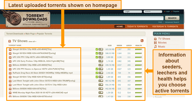 Screenshot of torrent search results on TorrentDownloads