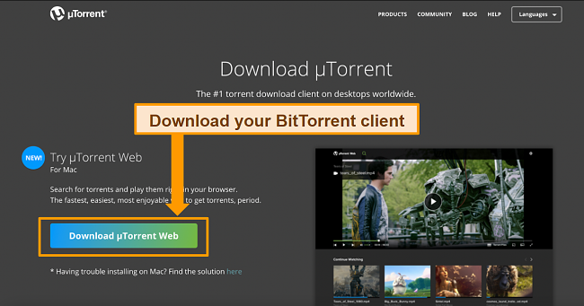 Screenshot of uTorrent client download page