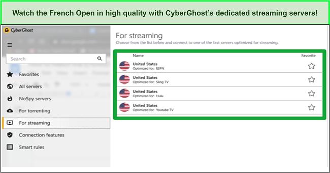 Screenshot of CyberGhost's dedicated streaming servers