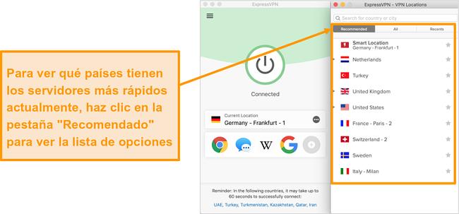 Captura de pantalla de la aplicación ExpressVPN que muestra los servidores recomendados
