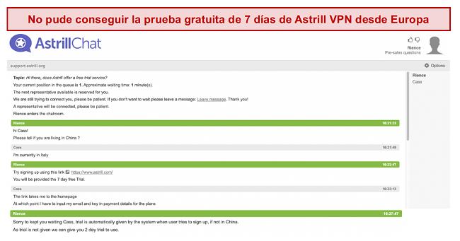 captura de pantalla de la conversación con el equipo de soporte de Astrill VPN donde no se ofrece una prueba gratuita de 7 días, incluso si el usuario reside en Europa