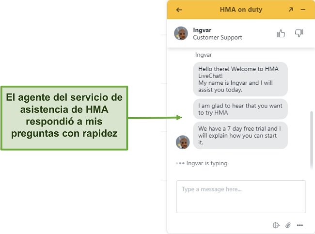 Captura de pantalla del chat en vivo de atención al cliente de HMA