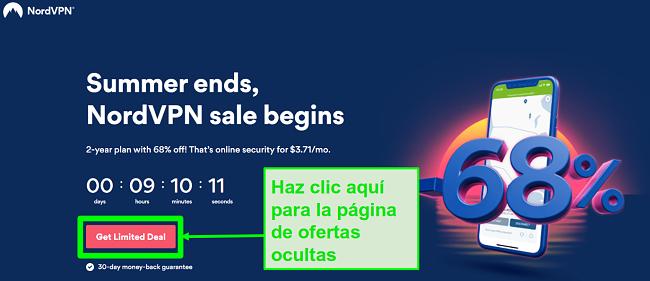 Captura de pantalla de la página de ofertas ocultas de NordVPN
