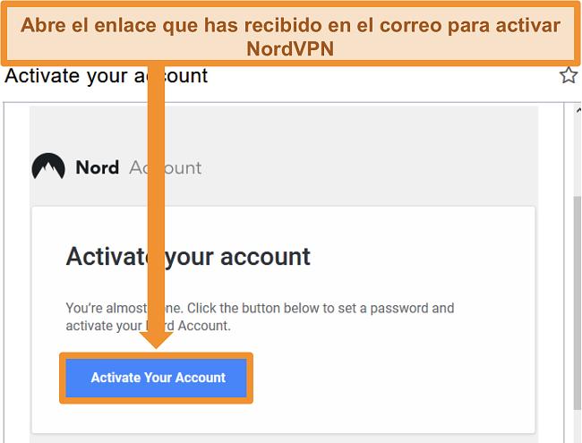 Captura de pantalla de la opción para activar la cuenta de NordVPN a través del correo electrónico