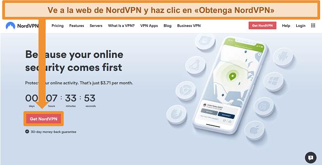 Captura de pantalla de la página de inicio de NordVPN