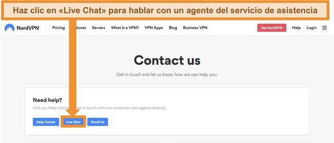 Captura de pantalla de la página de contacto de NordVPN que muestra el botón de chat en vivo