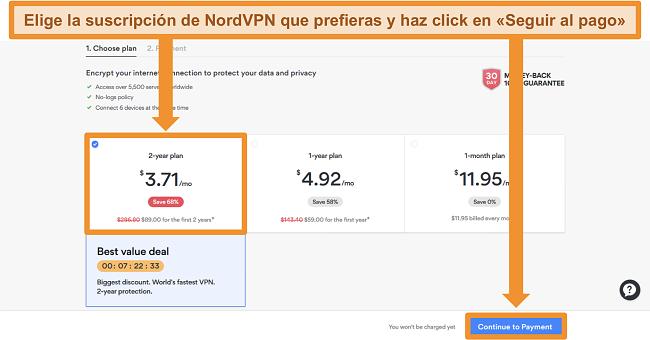 Captura de pantalla de la página de selección del plan en el sitio web de NordVPN