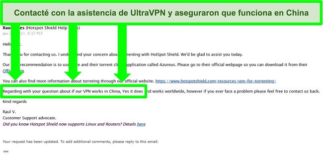 Captura de pantalla de un intercambio de correo electrónico con soporte UltraVPN sobre torrents y si la VPN funciona en China