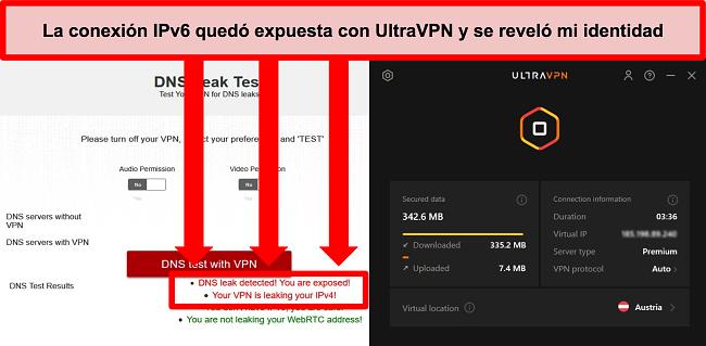 Captura de pantalla de una prueba de fuga de IPv6 fallida mientras UltraVPN está conectado a un servidor en Austria