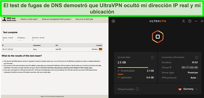 Captura de pantalla de una prueba de fugas de DNS exitosa mientras UltraVPN está conectado a un servidor en Alemania