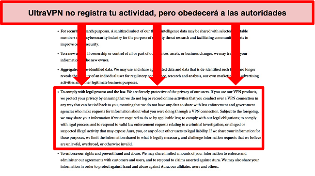 Captura de pantalla de la política de privacidad de UltraVPN