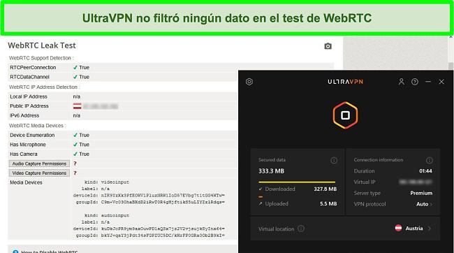Captura de pantalla de un resultado exitoso de la prueba WebRTC mientras UltraVPN está conectado a un servidor en Austria