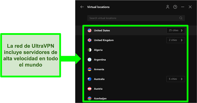 Captura de pantalla del menú de red del servidor de UltraVPN