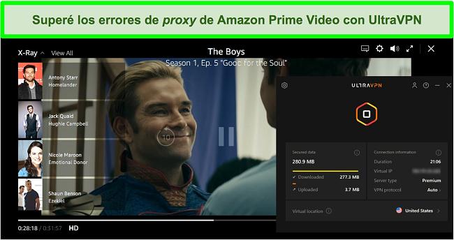 Captura de pantalla de The Boys en Amazon Prime Video mientras UltraVPN está conectado a un servidor en los EE. UU.