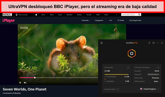 Captura de pantalla de BBC iPlayer desbloqueada por el servidor UltraVNc en el Reino Unido