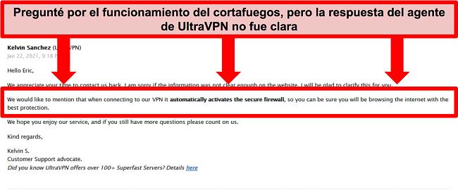 Captura de pantalla de un correo electrónico del soporte técnico de UltraVPN