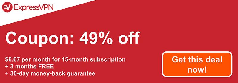 ExpressVPN 49% discount coupon with price
