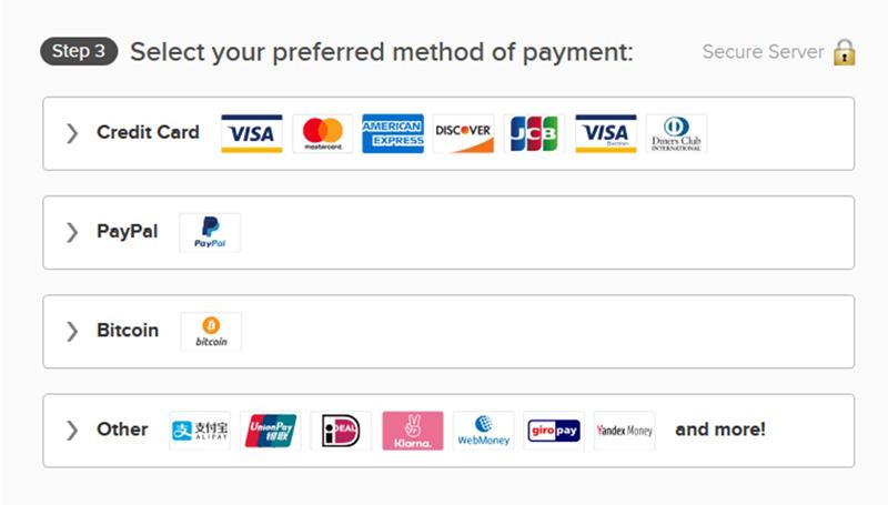 Screenshot of ExpressVPN's diverse payment options