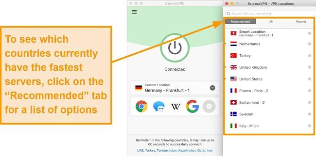 Screenshot of ExpressVPN app showing recommended servers