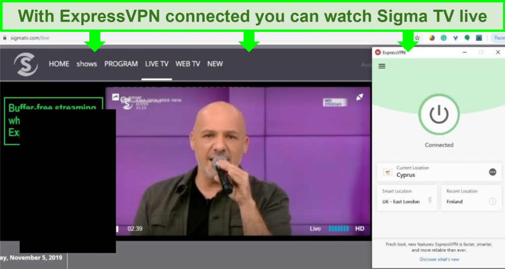 Screenshot of a singer on a Sigma TV live stream made possible by a connection to Cyprus through ExpressVPN