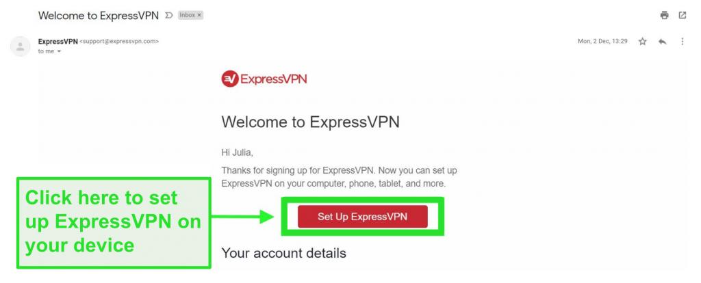 Snímek obrazovky uvítacího e-mailu ExpressVPN s informacemi o nastavení účtu