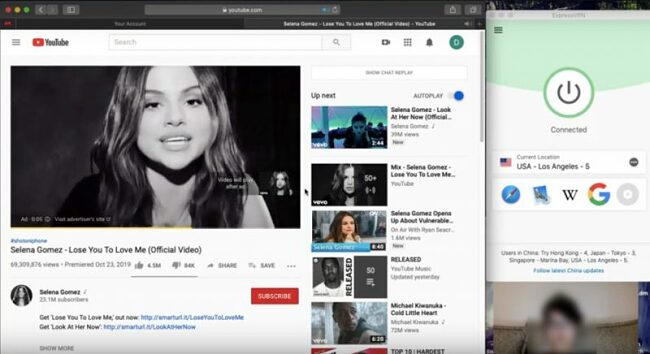 screenshot of youtube video streaming with expressvpn in china