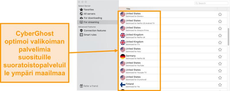 Näyttökuva CyberGhost for Mac -sovelluksesta, joka näyttää optimoidut palvelimet suoratoistoa varten