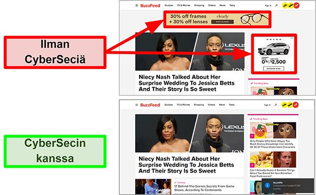 Näyttökuva BuzzFeed-kotisivulta, kun NordVPN: n CyberSec-ominaisuus on päällä ja pois päältä