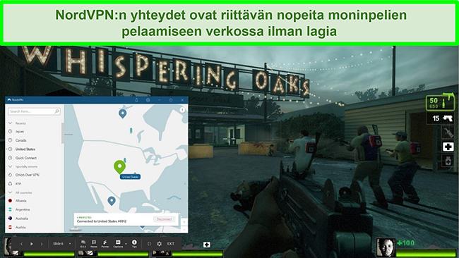 Näyttökuva NordVPN: stä, joka on kytketty yhdysvaltalaisiin palvelimiin, kun peliä Left 4 Dead 2 pelataan