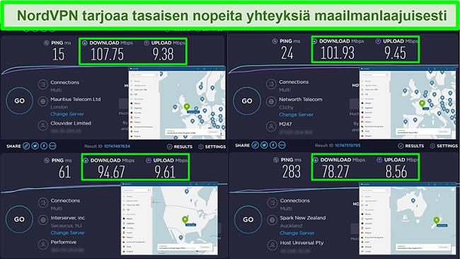 Kuvakaappaukset nopeustestistä, kun NordVPN on kytketty eri globaaleihin palvelimiin