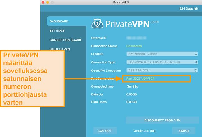 Näyttökuva PrivateVPN: stä, jossa portinsiirtonumero näkyy Mac-sovelluksessa