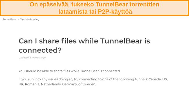 Näyttökuva TunnelBearin tiedostojen jakamista koskevasta vianetsintäsivusta