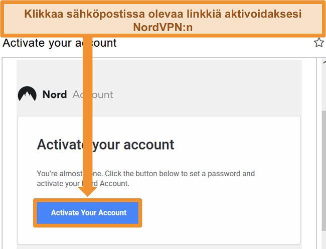 Näyttökuva vaihtoehdosta aktiiviseen NordVPN-tiliin sähköpostitse