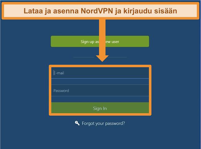 Näyttökuva sisäänkirjautumisnäytöstä NordVPN Windows -sovelluksessa