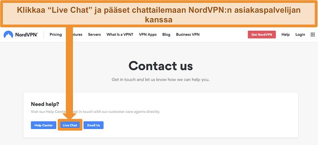 Näyttökuva NordVPN Ota yhteyttä -sivulta, jossa näkyy Live Chat -painike