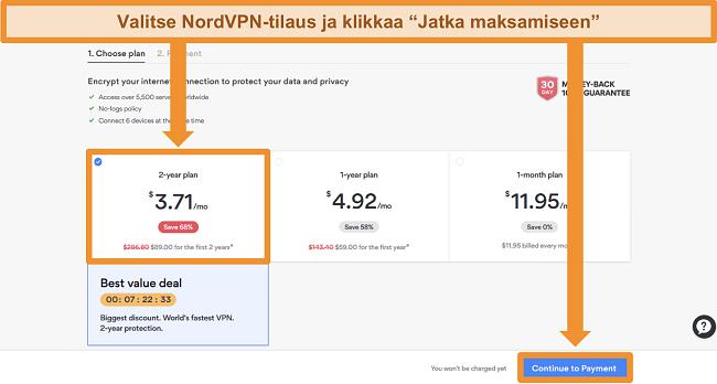 Ruutukaavio suunnitelman valintasivulta NordVPN: n verkkosivustolla
